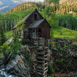 Crystal Mill III  by Trevor Hales - Buildings & Architecture Decaying & Abandoned ( water, mill, building, wood, waterfall, colorado, river,  )