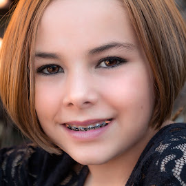 by Kathy Suttles - Babies & Children Child Portraits ( short hair, brown eyes, suttleimpressions, tween, reflective eyes, young girl, brace face )