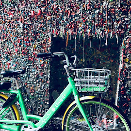 Bike to the gum wall by Bryn Fleck - City,  Street & Park  City Parks
