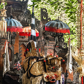 Barong by Bobo Tandiono - Artistic Objects Antiques ( barong .umbrella. stage. balinese. culture )