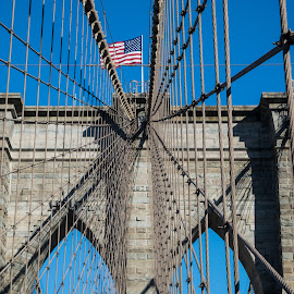 Meet in the Middle by Susan Myers - Buildings & Architecture Bridges & Suspended Structures ( brooklyn bridge, leading lines, iconic, wires, bridge, architecture )