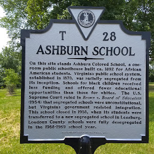 On this site stands Ashburn Colored School, a one-room public schoolhouse built ca. 1892 for African American students. Virginia's public school system, established in 1870, was racially segregated ...