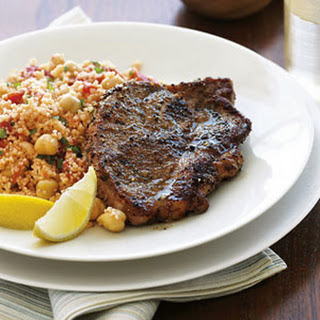 Lemon Lamb Chops with Couscous Pilaf