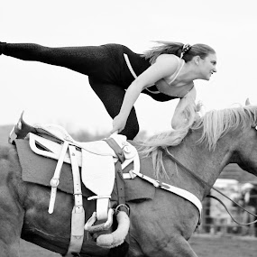 Trick Rider by Brian  Shoemaker  - Black & White Street & Candid ( black and white, horse, rodeo, cowgirl, trick,  )