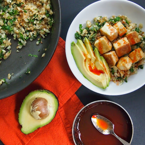 Cauliflower Rice and Tofu Bowl with Sriracha-Lime Sauce