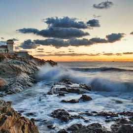 Castel Boccale (Livorno, Tuscany, Italy) by Gianluca Presto - Landscapes Beaches ( water, clouds, home, tuscany, cliffs, waterscape, colorful, waves, cliff, sea, landscape, sun, sunset, wave, cloudy, long exposure, castle, livorno, homes, italy, rocks )