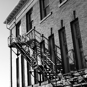 Escape Route by Frederic Rivollier - Buildings & Architecture Office Buildings & Hotels ( stairs, black and white, cambridge, fire, escape )