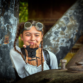 A Kiss For You ! by Marco Bertamé - Babies & Children Child Portraits ( girl, goggles, cild, smile, steampunk, smiling )