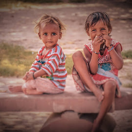 Childrens Sitting on Footpath by Puneet Dutta - Babies & Children Children Candids ( #faces #eyes #children #footpath )