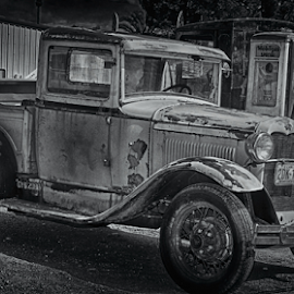 Old Timer by Elaine Malott - Transportation Automobiles ( trucks, old, black and white, cars, used )
