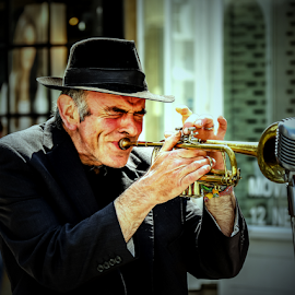Street performer by Mandy Hedley - People Musicians & Entertainers ( muscian, street, trumpet, entertainer, man,  )