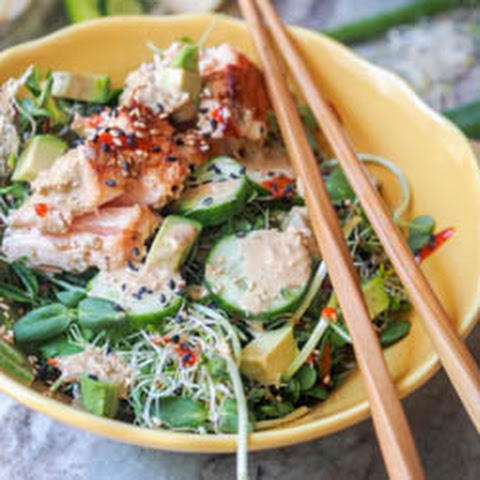 Sesame and Ginger Asian Salmon Salad {GF, DF}