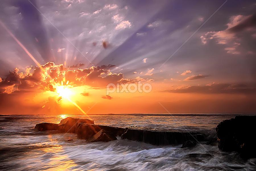 Rays of Light by Bigg Shangkhala - Landscapes Sunsets & Sunrises ( bali, rol, sunrise, beach, pwcsunbeams, light, rays, sun )