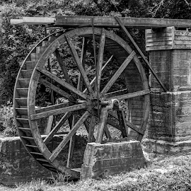 Old Waterwheel by Liam Douglas - Buildings & Architecture Architectural Detail ( water, stream, wooden, park, wheel, stone )