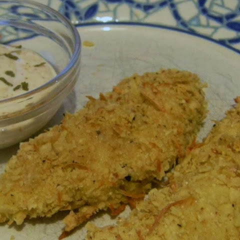 Tortilla Chip Crusted Chicken Tenders (with Honey Yogurt Dip)