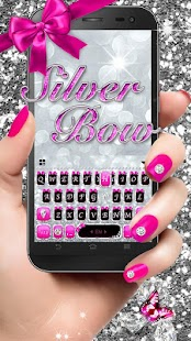 Glitzer Silver Bow Keyboard Theme android apps download