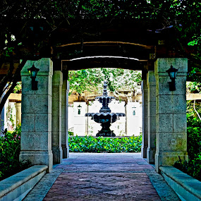 Fountain by Neil Dern - Artistic Objects Other Objects ( color, greenery, fountain, pillars,  )