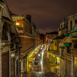 Lonely Street! by Jesus Giraldo - City,  Street & Park  Street Scenes ( nobody, concept, street, solitude, beauty, city, lights, urban, venice, conceptart, dark, night, lonely, alone )