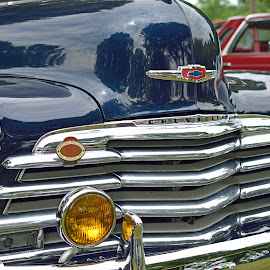Chevy by Steve Hayes - Novices Only Objects & Still Life ( car, headlights, blue, chevrolet, automobile, chrome, auto, chevy )