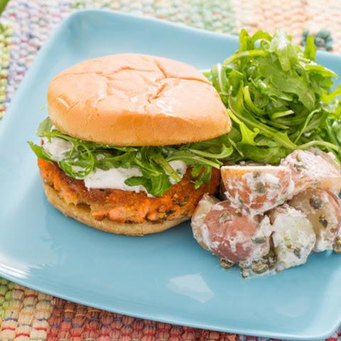 Salmon Burgers with Crème Fraîche Sauce, Arugula & Potato Salad
