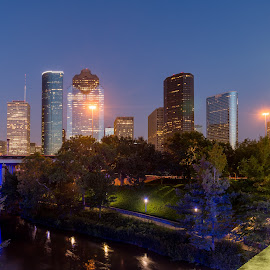A View from a bridge by Ben, Instagram: @bgrantphotos - Novices Only Landscapes ( skyline, my1eye, houston, long exposure, night, cityscape, bridge, downtown )