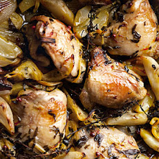 Roasted chicken with Jerusalem artichoke and lemon