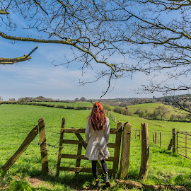 Enjoying the View by Ian Dilley - Landscapes Prairies, Meadows & Fields ( footpath, walking, person, wood, dx, edits, aps-c, gate. gateway, landscape, people, sun, crop, jenny, sky, mud, tree, red hair, nature, delamere, sigma, blend, path, walkway, luminoscity, nikon, hair, branches, pathway, hdr, iand1982, 2015, edit, forest, red-hair, id1982, beginner, fence, red, wooden, d7100, trees, branch, summer, day, walk, 17-50,  )