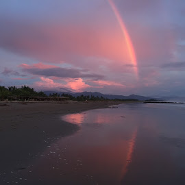 Red Rainbow by Mark Stackhouse - Instagram & Mobile iPhone ( red, tropical, rainbow, reflection, pacific ocean, beach, sunset, clouds,  )