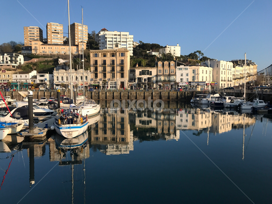 Reflecting in time in Torquay  by Natures Love  - City,  Street & Park  Vistas ( #reflection #seascape #torquay #harbour )