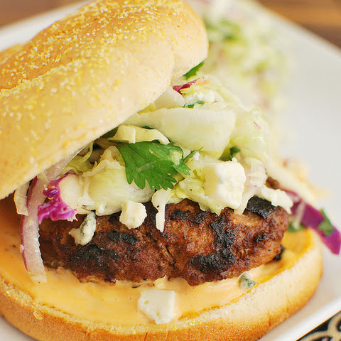 Buffalo Wing Burgers with Blue Cheese Slaw