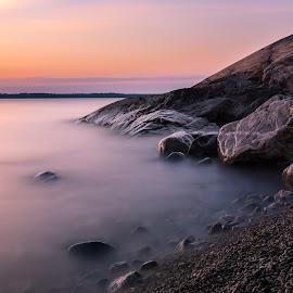 Midsummer by Juho Mäkinen - Landscapes Beaches ( shore, water, midsummer, europe, sea, finland, night, ocean, pebbles, long exposure, beach )