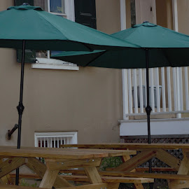 Umbrellas and Picnic  Tables by Eileen MacWilliams Kirsch - Artistic Objects Furniture ( umbrellas, outdoor, furniture, photo, picnic table, photography )