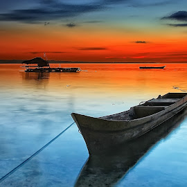 Boat at Sunset by Ina Herliana Koswara - Transportation Boats ( water, sky, sunset, wakatobi, beach, boat )