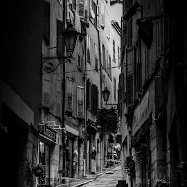Riding the Road by Daniel Hache - City,  Street & Park  Street Scenes ( black and white, grasse, street, france, boy, step )