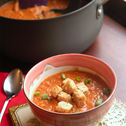 Creamy Tomato & Sweet Potato Soup with Brown Butter Croutons