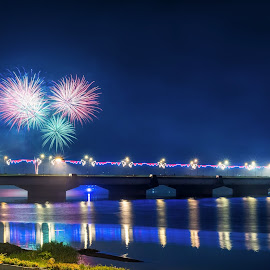 Fireworks on the bridge by Abdullah AL Mahmud - City,  Street & Park  Night ( lagoon, night photography, reflections, fireworks, night, blue water, long exposure, bridge )