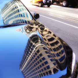 Reflection of the City by Michael Brunsfeld - City,  Street & Park  Street Scenes ( reflection, car reflect, reflection of the city )