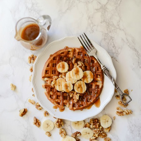 Banana Bread Waffles with Brown Sugar Caramel Syrup