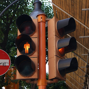 by Maya Farebrother - Products & Objects Signs ( lights, sign, traffic, amber, man, city )