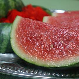 Juicy by Linda Doerr - Food & Drink Fruits & Vegetables ( plated, juicy, fruit, food, still life, watermelon )