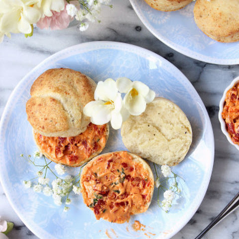 Pepper & Parmesan Biscuits with Sun-dried Tomato Whipped Mascarpone