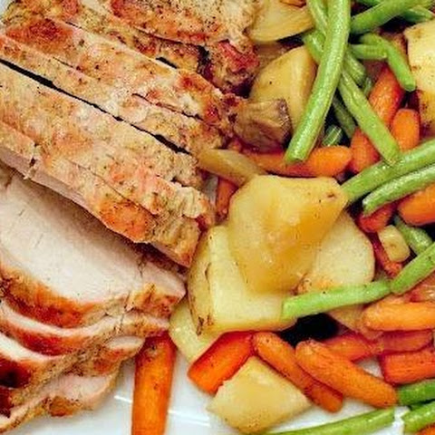 Dijon-Garlic Pork Roast with Potatoes, Carrots and Green Beans