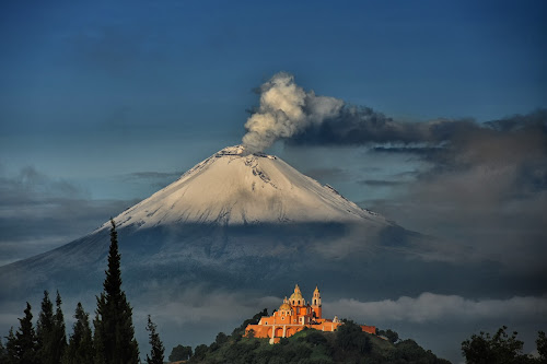 Popocatepetl and Choula Church by Cristobal Garciaferro Rubio - Landscapes Mountains & Hills ( cholula, church, popo, mexico, virgen de los remedios, puebla, popocatepetl )