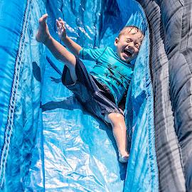 Sliiiiiide! by Jamie Valladao - Babies & Children Children Candids ( child, summer, fun, slide, waterslide, boy,  )