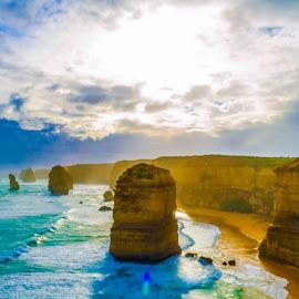 12 Apostle (Great Ocean) by Sb Sangpi - Landscapes Beaches ( green, rocky, ocean, beach, landscape, 12apostle, sky, blue, australia, suns, cloud, sunshine, victoria, rocks, greatocean )
