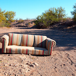 Sofa in the Dry Wash by Steven Love - Artistic Objects Furniture ( sofa, couch, harquahala valley, centennial wash, arizona, creek, pollution, furniture, abandoned )