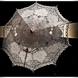 Embroidered Umbrella by Prasanta Das - Artistic Objects Clothing & Accessories ( white, display, embroidered umbrella )
