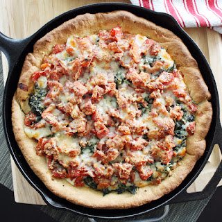 Deep Dish Spinach and Tomato Pizza