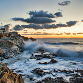 Castel Boccale (Livorno, Tuscany, Italy) by Gianluca Presto - Landscapes Beaches ( water, clouds, home, tuscany, cliffs, waterscape, colorful, waves, cliff, sea, landscape, sun, sunset, wave, cloudy, long exposure, castle, livorno, homes, italy, rocks,  )