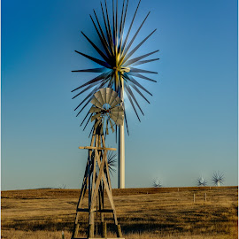 The Windmill by Craig Turner - Landscapes Prairies, Meadows & Fields ( windmill old and new, limon, colorado, windmill )